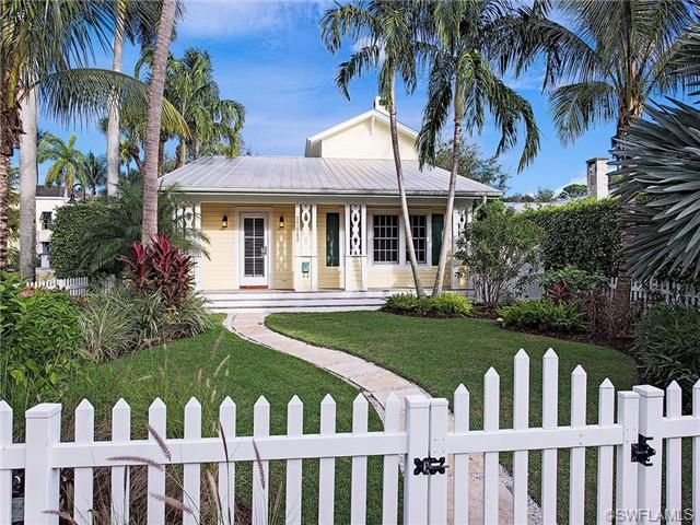 Traditional Olde Naples Cracker Style Beach Cottage   Yellow Siding, White  Porch, Tin Roof