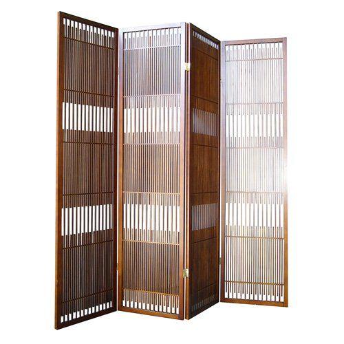 dual folding 4 panel room divider walnut finish id
