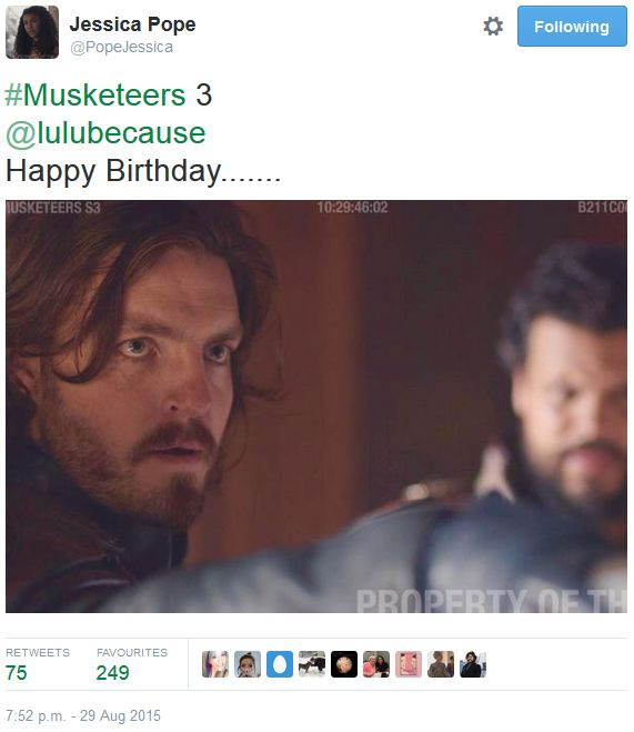 The Musketeers - Series III BtS filming via Jessica Pope's Twitter (Athos & a blurry Porthos)