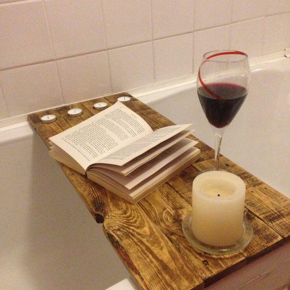 Reclaimed wood bath shelf bath tray / caddy for by JBWoodDesign