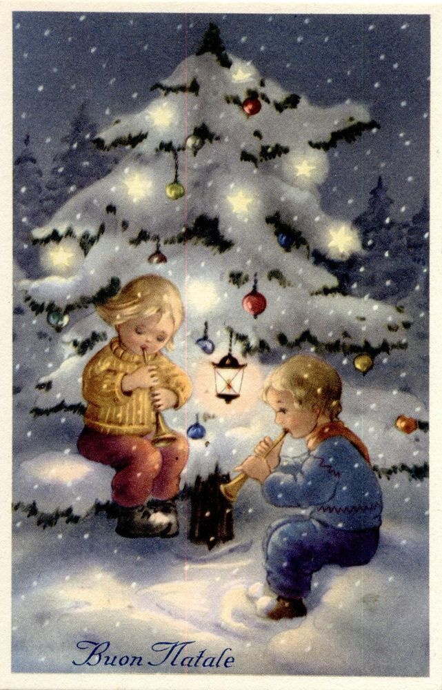 Buon Natale Bambini.Bambini Buon Natale Illustratore Italiano Pc Circa 1930 Childrens 7