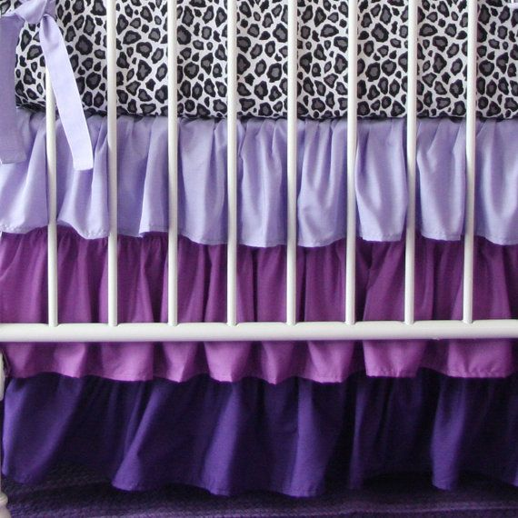 Purple Gradient Ombre Ruffle Crib Skirt by CadenLaneBabyBedding