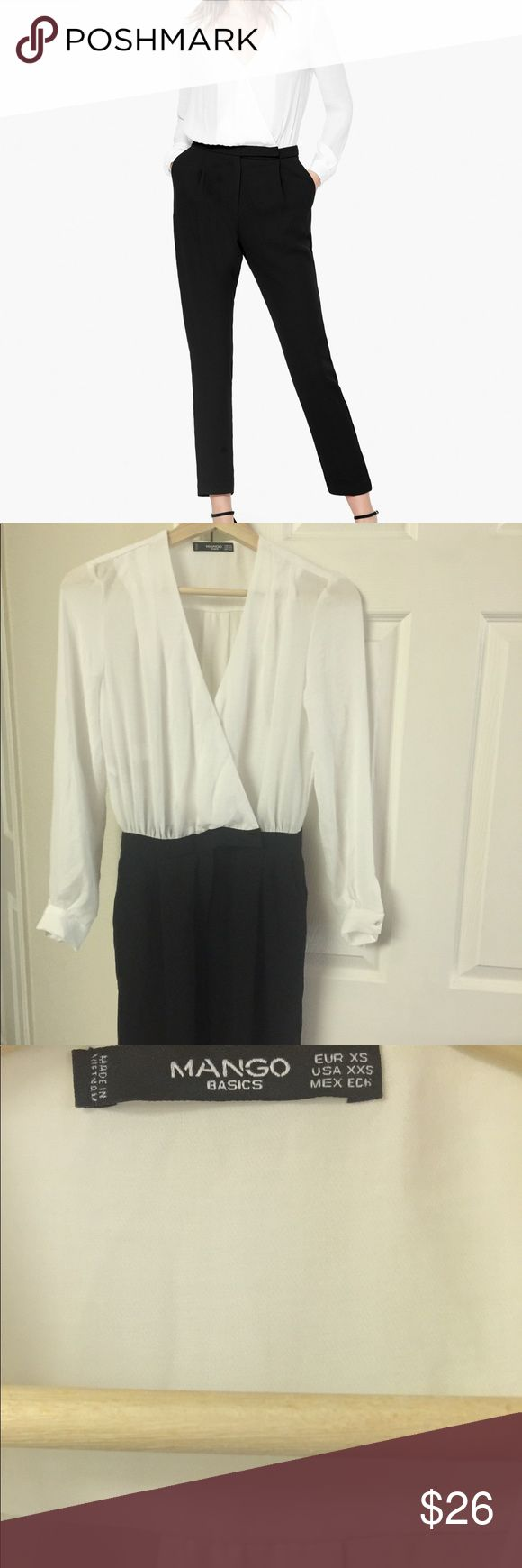 NEW MANGO Black&White Long Sleeve Jumpsuit Beautiful Mango Jumpsuit New without tags Please ask any question you may have before purchasing, all sales are final Mango Pants Jumpsuits & Rompers