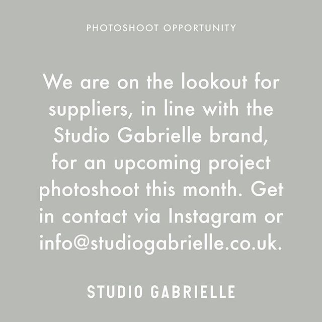 @studiogabrielleuk — PHOTOSHOOT OPPORTUNITY — As you may or may not have seen on our Instagram Stories, we are currently in preparation for our #CanaryWharfResidence photoshoot. Therefore, we are on the lookout for suppliers in line with the Studio Gabrielle brand to feature in our latest project. Do you have a unique object, minimalist sculpture, interesting furniture piece or eye-catching artwork? We'd love for you to get in contact via the comments below, Instagram DM's or email us…