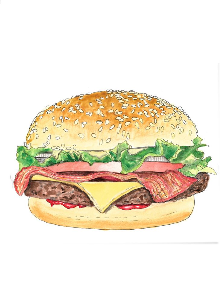 Bacon burger hand drawn watercolor illustration by RobertaTomei on Etsy
