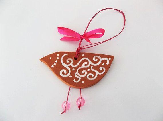 Terracotta little bird ornament home decor