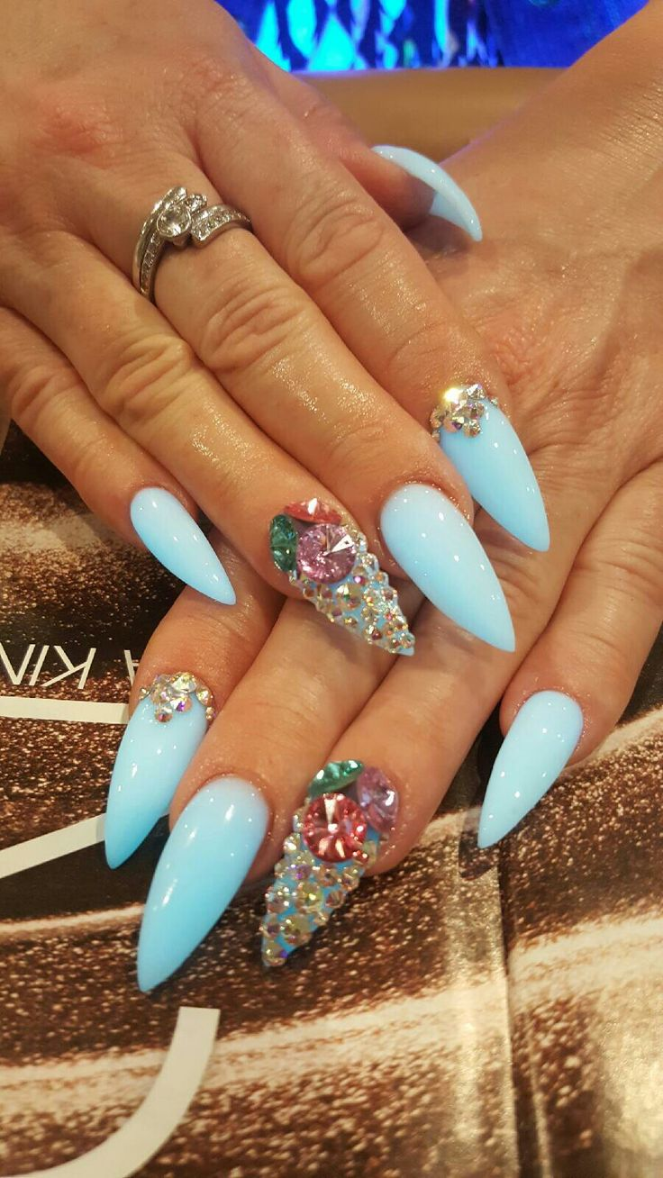 3d stiletto glow in the dark acrylic nails