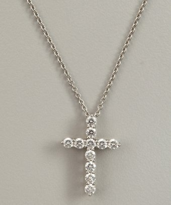 Tiffany & Co. : Tiffany & Co diamond and platinum cross pendant necklace : style # 320750301