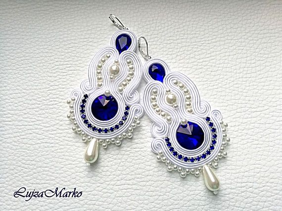 White dark blue wedding  long soutache earrings