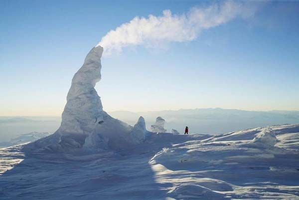 Snow chimneys: On Mount Erebus, Antarctica, these chimneys form on top of the southernmost active volcano on Earth.