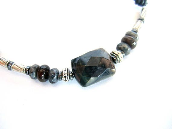 Men surfer necklace gemstone hawk eye stone choker mens