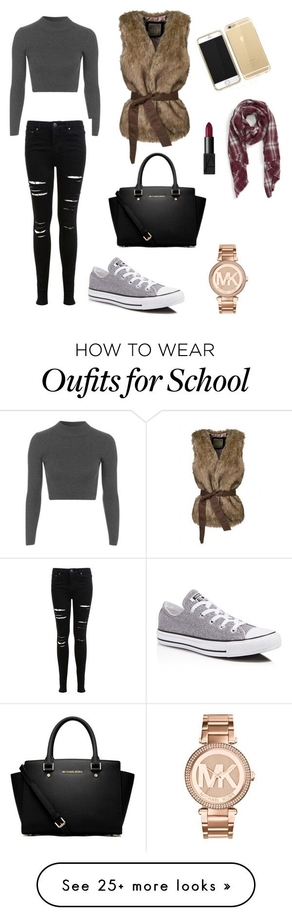 """""""Outfit for School days"""" by sinem-katilmis on Polyvore featuring Topshop, Miss Selfridge, Converse, MICHAEL Michael Kors, Sole Society, Michael Kors and NARS Cosmetics"""
