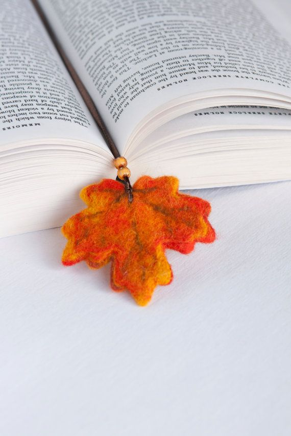 Needle Felted Wool Fall Autumn Orange Leaf Bookmark Sculpture Wool Ribbon Decor Present Decoration Miniature Collection Ready to Ship