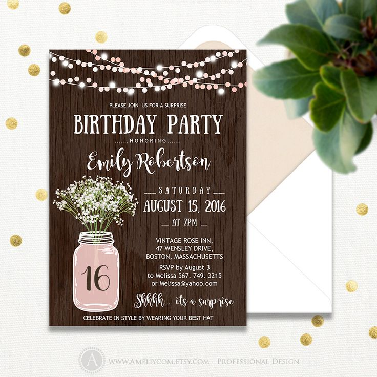 Now selling: Surprise Birthday Party Invitations Printable Sweet 16 Girl Pink Adult Birthday Invite Rustic Mason... https://www.etsy.com/listing/291743813/surprise-birthday-party-invitations?utm_campaign=crowdfire&utm_content=crowdfire&utm_medium=social&utm_source=pinterest