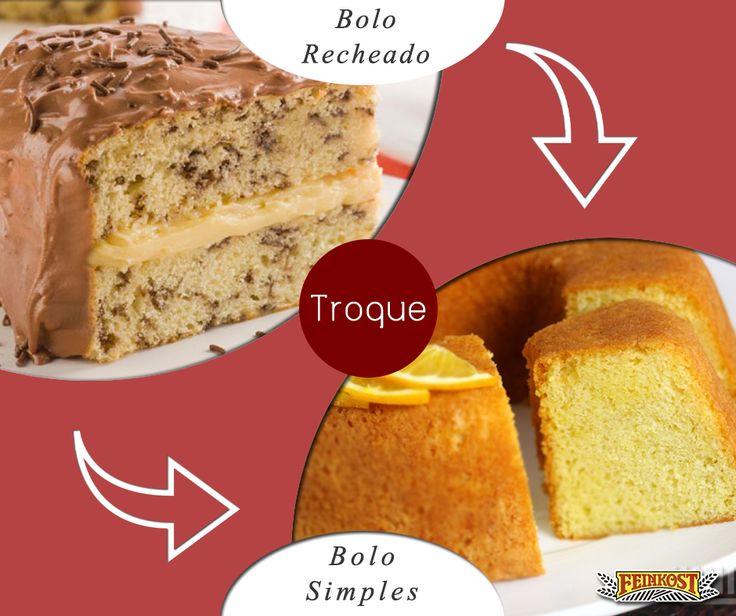 Chantili, cremes diversos à base de creme de leite, suspiros e o brasileiríssimo brigadeiro são alguns dos ingredientes usados em bolos recheados. Será que, ao optar por um bolo simples, estaremos fazendo uma boa troca?  A resposta é sim. Mesmo as massas sendo as mesmas e sempre muito calóricas e gordurosas, os recheios e coberturas acrescidos às massas, fazem as calorias dobrarem e a gordura aumentar. Emoticon wink #Feinkost #TrocaSaudável #Bolo