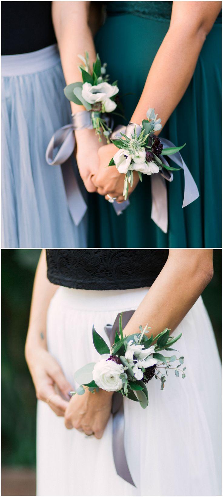 Bridesmaid corsages, bouquet alternatives, blue thistle, white ranunculus // Elm&Co