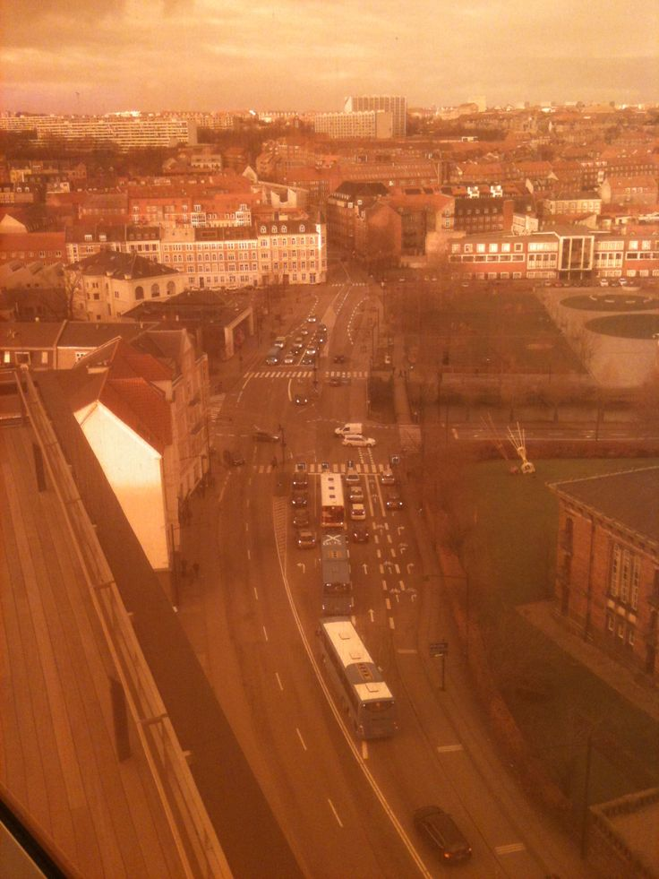 City of Aarhus seen from the top of Art Museum behind filtered glass. 2016_12_28