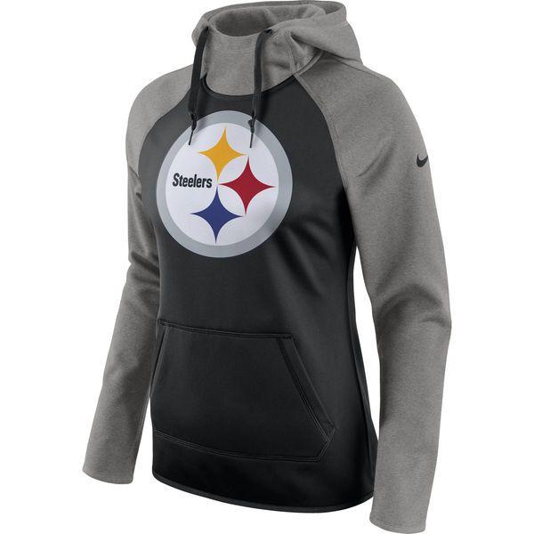 Women's Pittsburgh Steelers Nike Black/Heathered Gray All Time Raglan Pullover Performance Hoodie - NFLShop.com