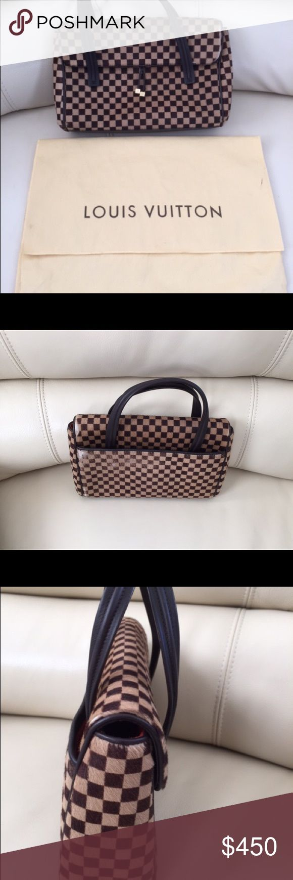 Louis Vuitton sauvage Lionne Spawn Fur Brown Louis Vuitton  PARIS Sauvage Lionne Spawn Fur brown Tan Damier Satchel. Minor fading back of purse it can be simply dyed/traced with color pen. Inside is in red Alkantra lining with 1 open poket. Made in Italy Louis Vuitton Bags Satchels