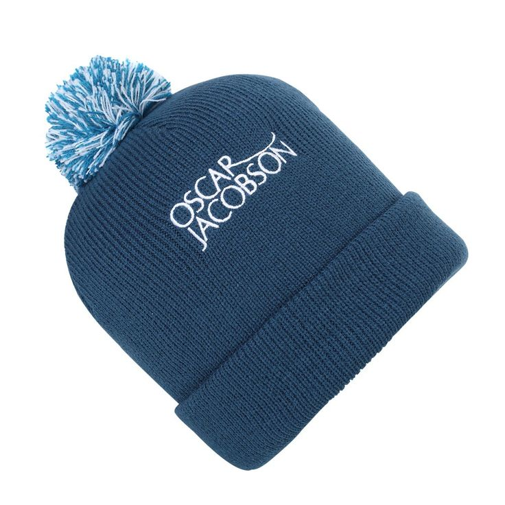 Oscar Jacobson Mens Bobble Hat - Blue - with Free Delivery