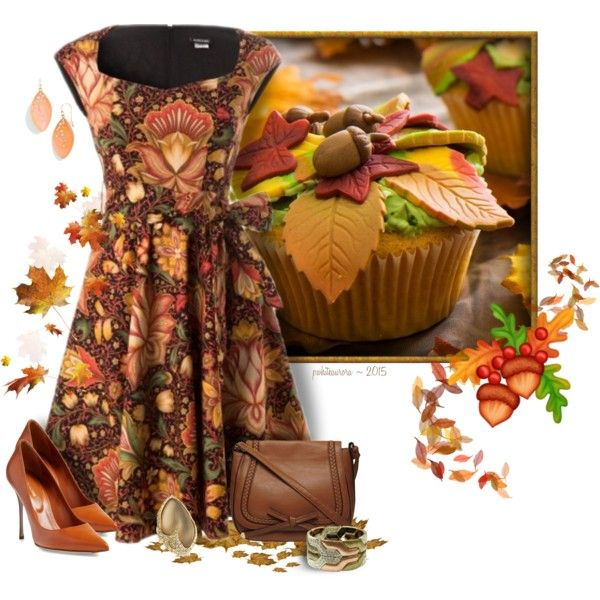Autumn Floral Dress by pwhiteaurora on Polyvore featuring Retrolicious, Sergio Rossi, Dorothy Perkins, Carissima Bijoux, & Alexis Bittar ~ created 8-30-2015