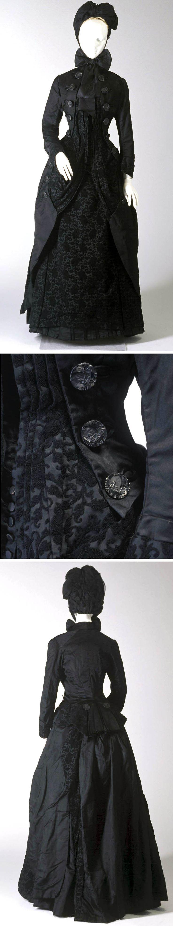 Mourning ensemble, ca. 1885. Silk jacket, bodice, and skirt. Powerhouse Museum