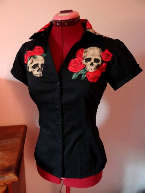 Work shirt rockabilly psychobilly tattoo contigo skull zombie monster goth pin up rétro cherry polka dot