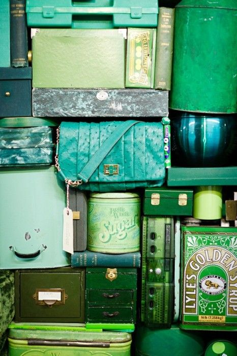 Green trunks and cases