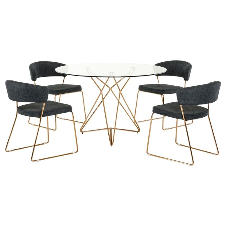 Modrest Ashland Modern Glass Round Dining Table Gold And