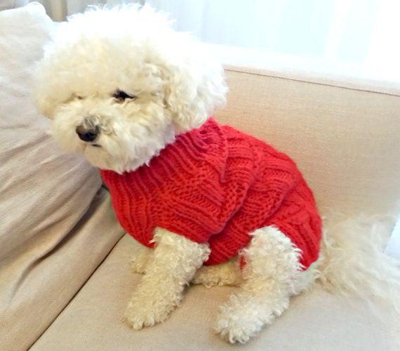 Suéter de perro rojo mano tejer ropa para perros / perros