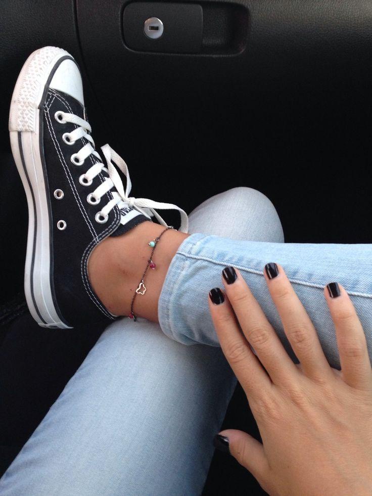 Black Converse with denim