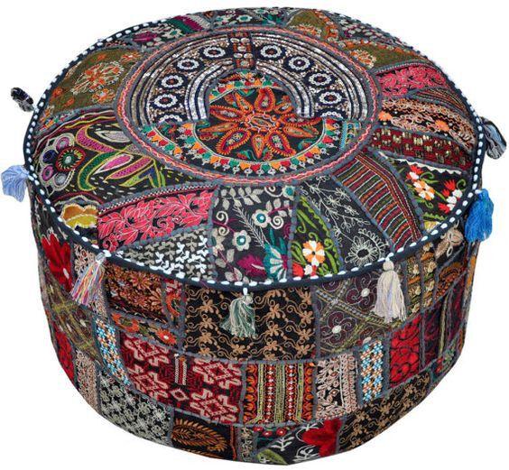 Black Bohemian Boho Moroccan Patchwork Pouf Ottoman