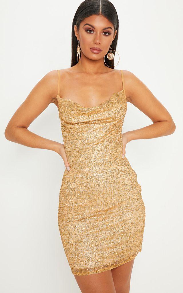 427165d2e187e Gold Glitter Strappy Cowl Neck Bodycon Dress