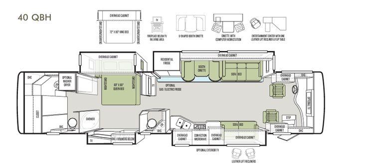 Bath And A Half Floorplan Phaeton 40 Qbh Tiffin