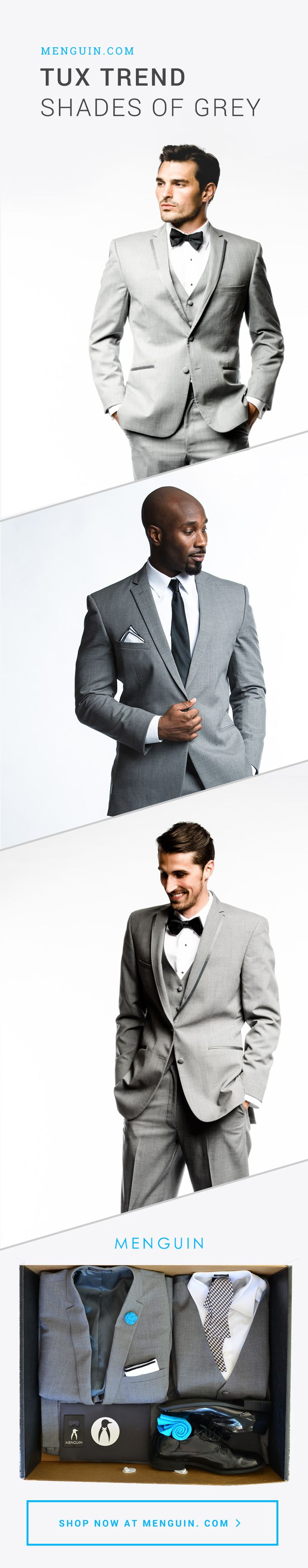 Following Love is Love Events on Pinterest?! Check Out Our Fb page https://m.facebook.com/LoveisLoveEvents to learn more about us & our services!! Tux Trend: Shades of Grey | Menguin.com
