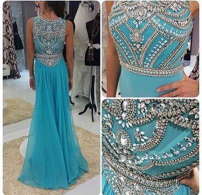 2017 Custom Charming Prom Dress,Chiffon Prom Dress,Beading Prom Dress,O-Neck Prom Dress,Beauty Evening Dress