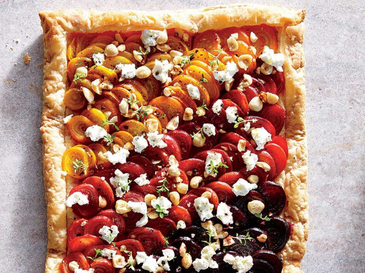 Start your holiday meal with a simple yet gorgeous tricolor beet tart, topped off with tangy goat cheese