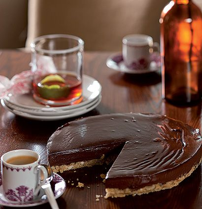 Crushed Amaretti and dark chocolate tart - served with espresso