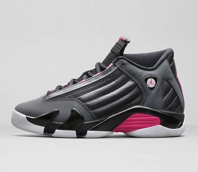 Trendy Womens Sneakers 2017/ 2018 : Air Jordan XIV  Metallic Dark Grey / Hyper Pink  Black  White