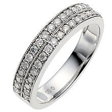 9ct white gold half carat diamond milgrain wedding ring - Product number 8616140