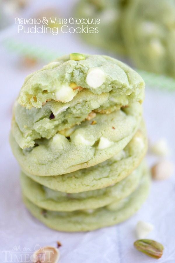 The prettiest green cookies EVER! Super soft and chewy, these Pistachio and White Chocolate Pudding Cookies are the perfect easy dessert recipe! No one can eat just one! | MomOnTiimeout.com