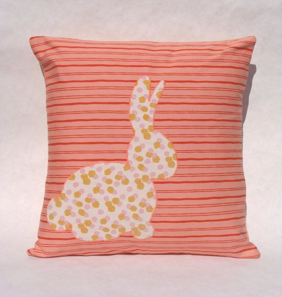 Upcycled Floral Bunny on Coral and Red Stripes Cotton Cushion