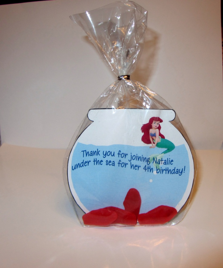 KIDS BIRTHDAY FAVOR,Disney Ariel,party favor,fish bowl, Bags and ties included. $10.00, via Etsy.