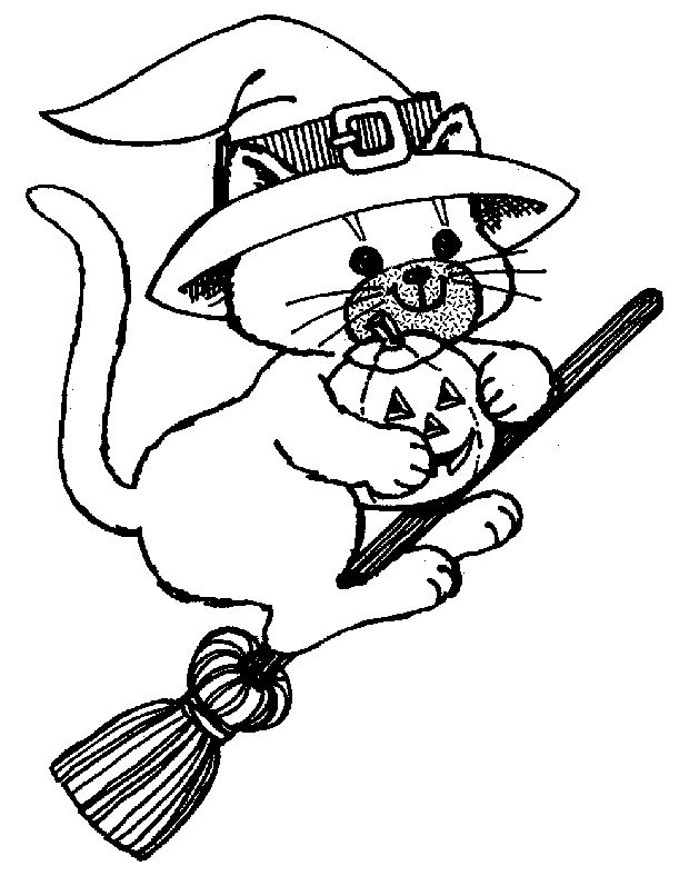 Flying Broom Ride Cat Coloring Page
