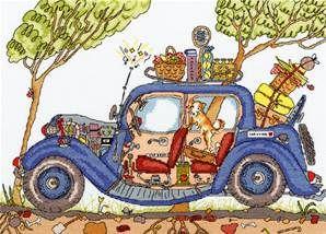 kit de broderie au point de croix vintage car - bothy threads