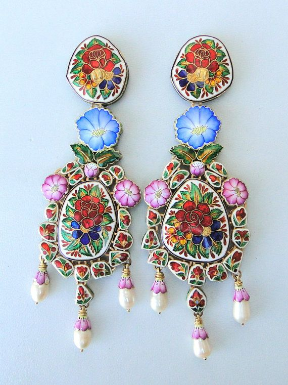 Vintage gold diamond and enamel earrings from India