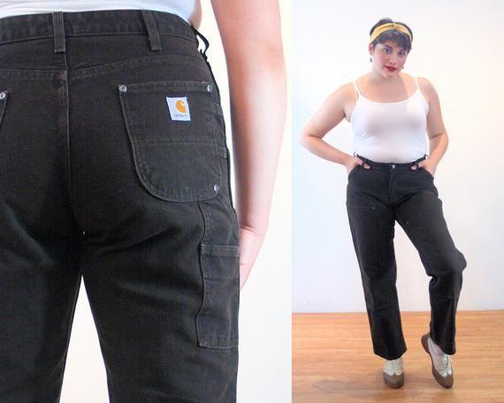 90s Carhartt Carpenter Jeans 12 Women S Brown Cotton Canvas Heavy