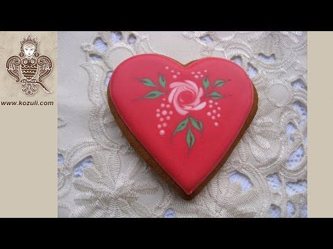 Cookie decorating with royal ising. How to decorate Rose cookie. Royal icing wet on wet technique - YouTube