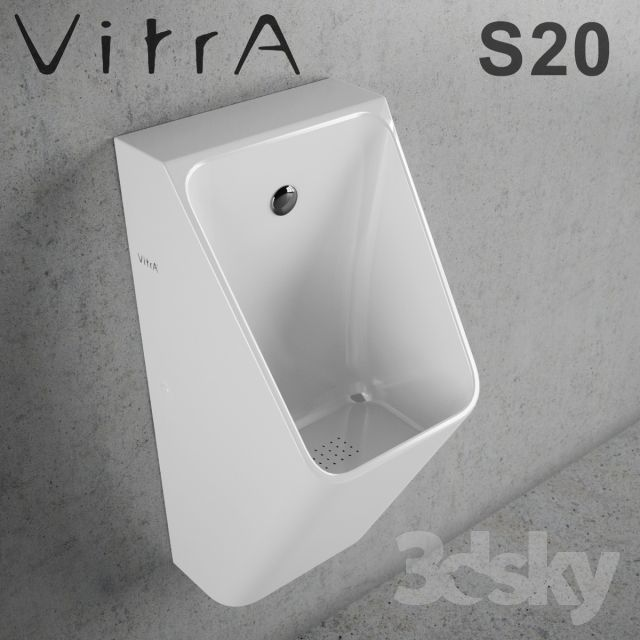VitrA / S20 Urinal http://3ddfree.com/toilet-bidet-2/vitra-s20-urinal Program: 3dsMax 2011 + fbx (Vray) .File Size: 1.62 MB .Description of this 3d model: Material: sanitary ceramic Colour: white Width (cm): 30 Height (cm): 60 Depth (cm): 30  urinal, vitra