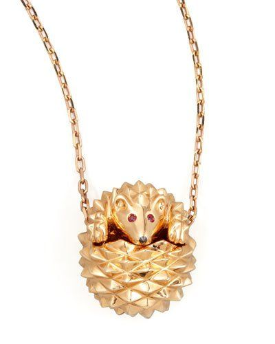 Boucheron+18k+Pink+Gold+Herisson+Hedgehog+Pendant+Necklace+|+Jewelry+and+Accessory